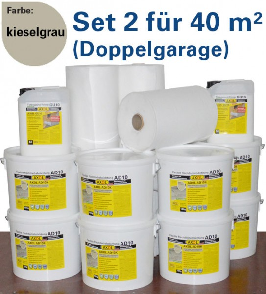 230€ sparen: Flachdach-Set 2 für 40m² (Doppelgarage) kieselgrau