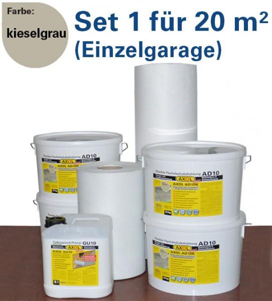 130€ sparen: Flachdach-Set 1 für 20m² (Einzelgarage) kieselgrau